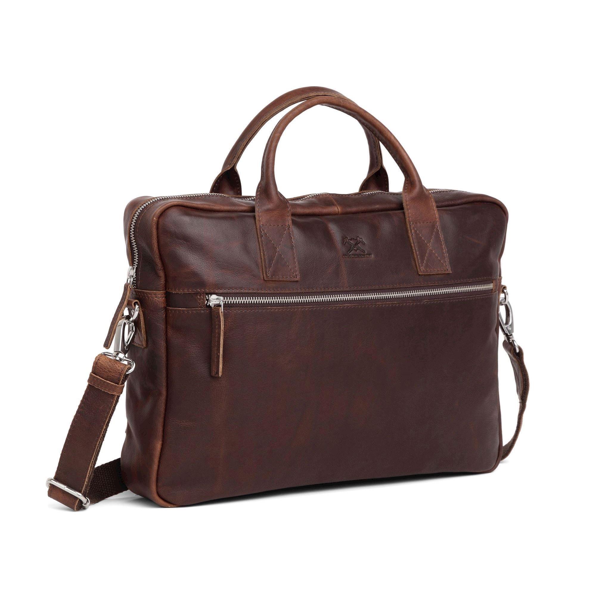 5073fd0f model 277546-mørkbrun Adax, Tobias skind briefcase 15,6, Catania